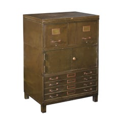 Vintage Industrial Army Green Art-Metal Combination Flat File and Filing Cabinet