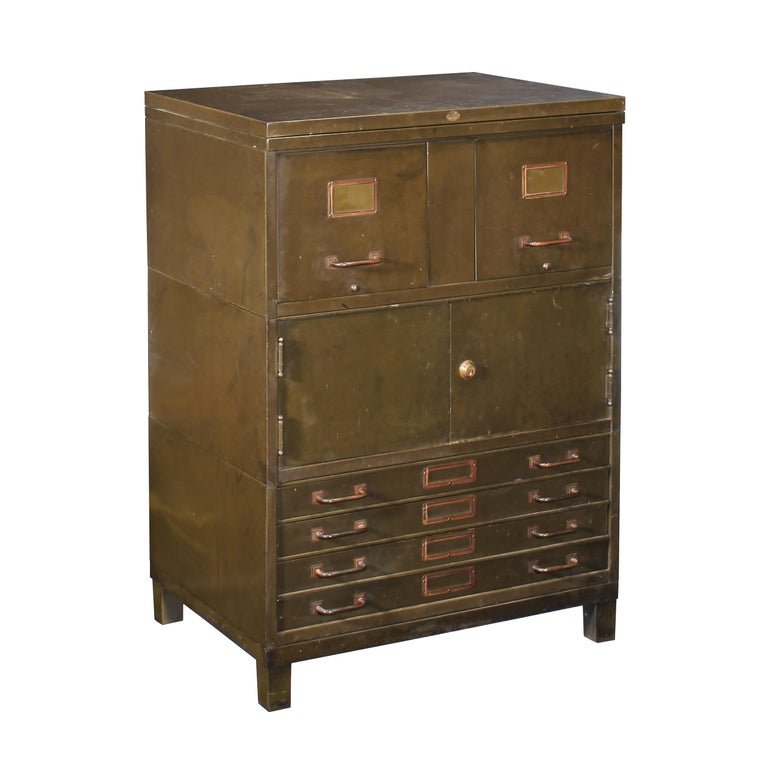 vintage industrial army green art metal combination flat file and filing cabinet for sale at 1stdibs. Black Bedroom Furniture Sets. Home Design Ideas