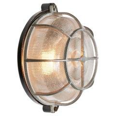 Vintage Industrial Bakelite Holophane Glass Wall Scones Lights