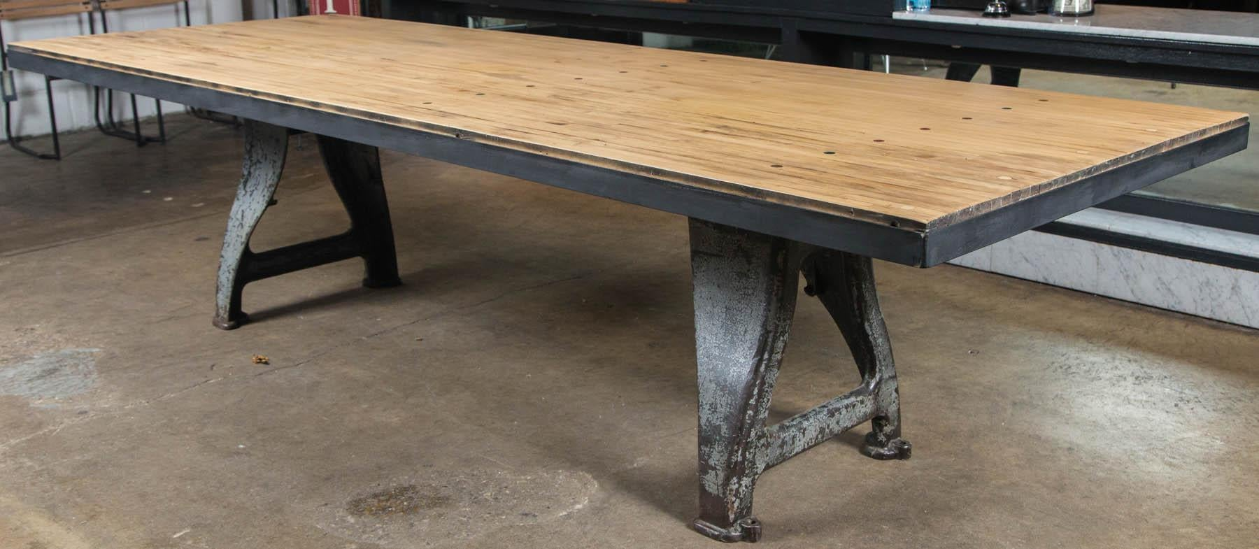American Vintage Industrial Base Bowling Alley Table For Sale