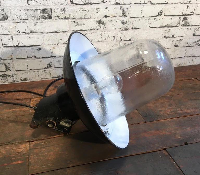 Vintage Industrial Black Enamel And Cast Iron Wall Lamp, 1950s For Sale 2