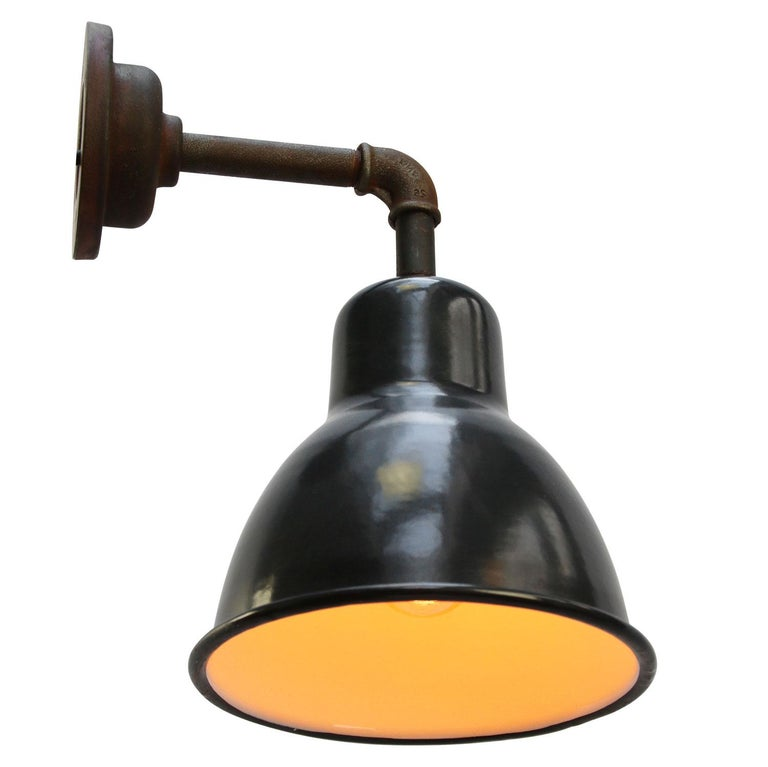 Hungarian Vintage Industrial Black Enamel Cast Iron Wall Light Scones For Sale