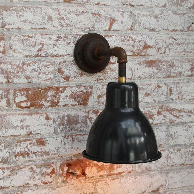 20th Century Vintage Industrial Black Enamel Cast Iron Wall Light Scones For Sale