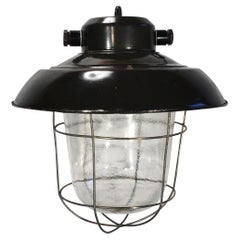 Vintage Industrial Black Enamel Factory Hanging Lamp, 1960s
