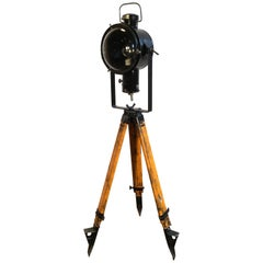 Vintage Industrial Black Enamel Lamp on Wooden Tripod