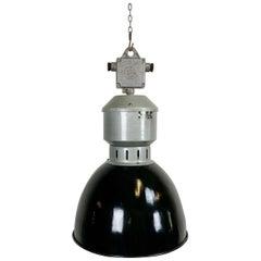 Vintage Industrial Black Enamel Pendant Lamp from Elektrosvit, 1960s
