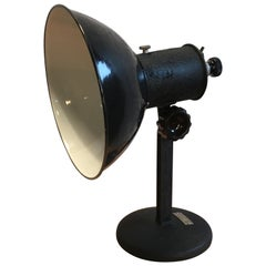 Vintage Industrial Black Enamel Table Lamp, 1950s