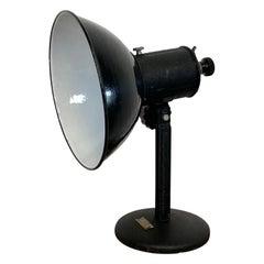 Vintage Industrial Black Enamel Table Lamp, 1950s