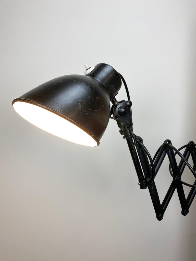 Vintage Industrial Black Scissor Wall Lamp, 1950s For Sale 2