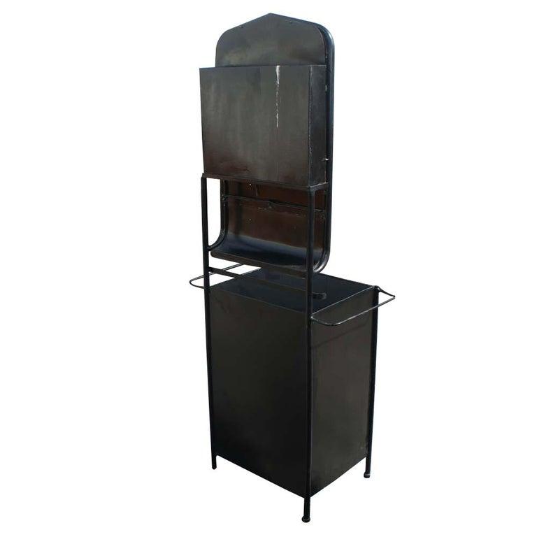 Vintage Industrial Black Steel Washstand  For Sale 1