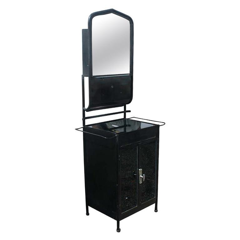 Vintage Industrial Black Steel Washstand  For Sale