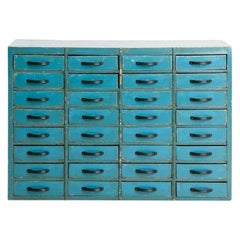 Vintage Industrial Blue Bank of Drawers