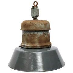 Vintage Industrial Blue Enamel Cast Iron Old Train Station Pendant Lights