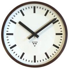 Vintage Industrial Brown Bakelite Wall Clock from Pragotron, 1970s
