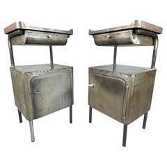 Vintage Industrial Brushed Steel Nightstands, 1920's