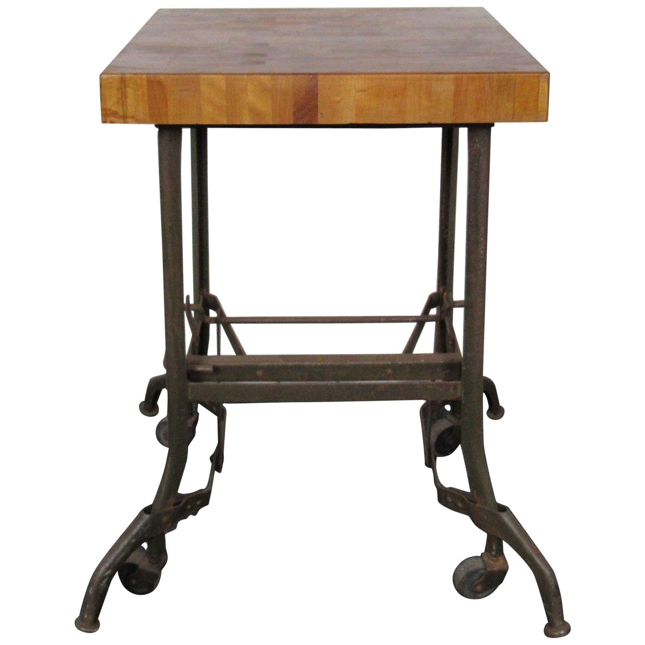 Vintage Industrial Butcher Block Table