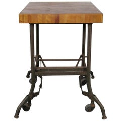 Vintage Industrial Butcher Block Table