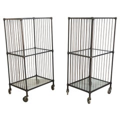 Vintage Industrial Carts with Glass Shelves and Casters, Sold Individually