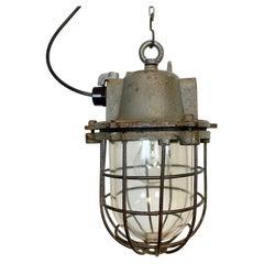 Vintage Industrial Cast Iron Cage Pendant Light, 1960s
