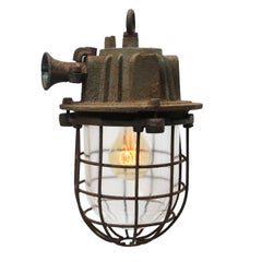 Vintage Industrial Cast Iron Clear Glass Cage Hanging Lamp