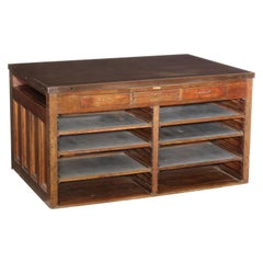 Vintage Industrial Cast Iron Top Island / Printers Cabinet