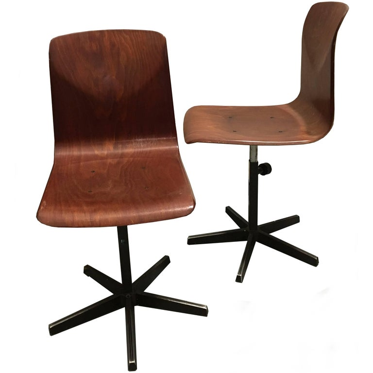 Pair of Pagholz Metal and Bent Plywood German Industrial Chairs, 1970s