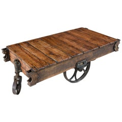 Vintage Industrial Charles Chas. E. Francis Co. Rocker Rail Cart Coffee Table