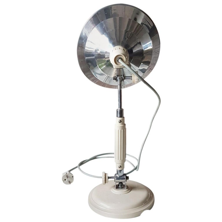 Vintage Industrial Chrome Table Stand Wall Lamp For Sale