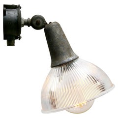 Vintage Industrial Clear Holophane Glass Cast Iron Wall Scones Lamps