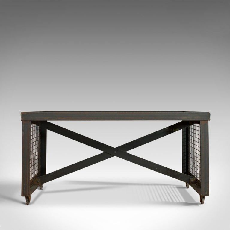 Vintage Industrial Coffee Table, English, Foundry Steel, Oak, 20th Century In Good Condition For Sale In Hele, Devon, GB