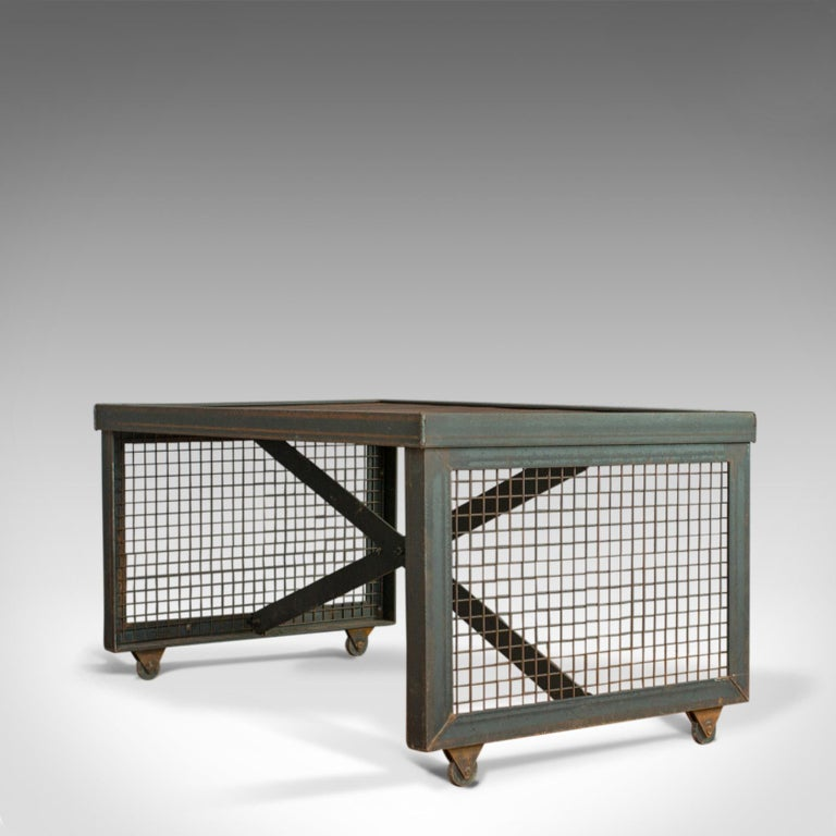 Vintage Industrial Coffee Table, English, Foundry Steel, Oak, 20th Century For Sale 1