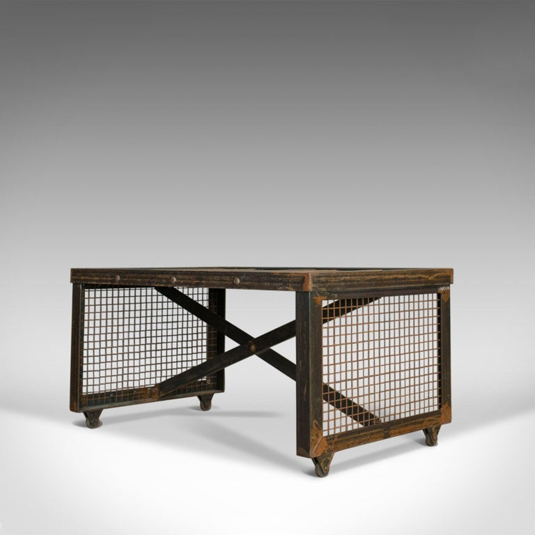 Vintage Industrial Coffee Table, English, Steel, Oak, 20th Century For Sale 1