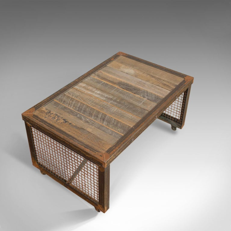 Admirable Vintage Industrial Coffee Table English Steel Oak 20Th Century Creativecarmelina Interior Chair Design Creativecarmelinacom