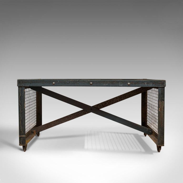 Vintage Industrial Coffee Table, English, Steel, Oak, Late 20th Century In Good Condition For Sale In Hele, Devon, GB