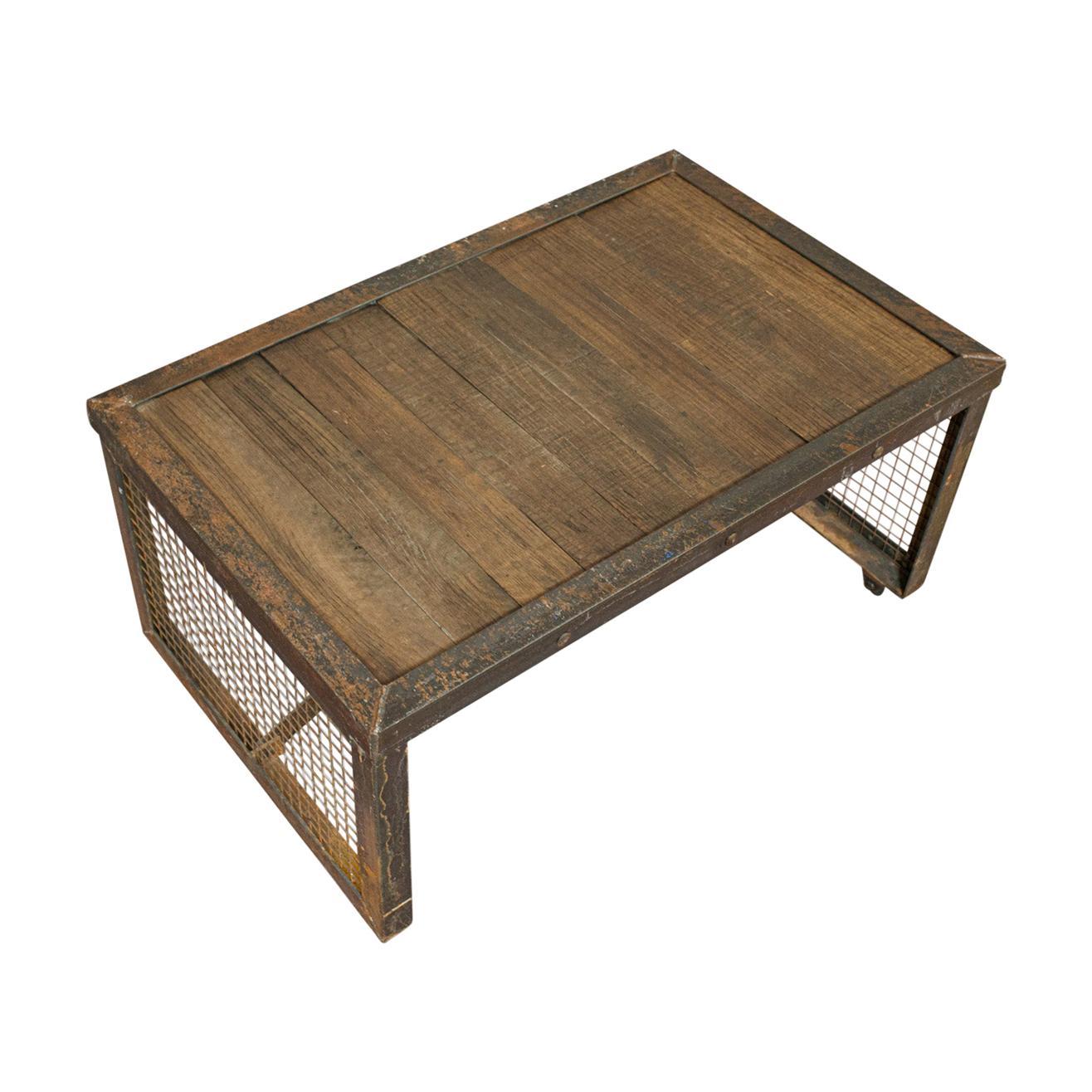 Vintage Industrial Coffee Table, English, Steel, Oak, Late 20th Century