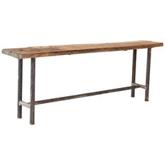 Vintage Industrial Console Table with Iron Base and Rustic Slab Wood Top