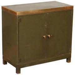 Vintage Industrial Copper Top Metal Storage Cabinet