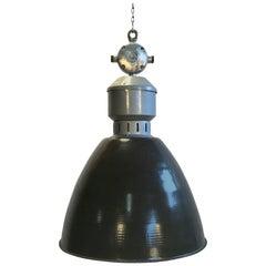 Vintage Industrial Dark Grey Enamel Pendant Lamp