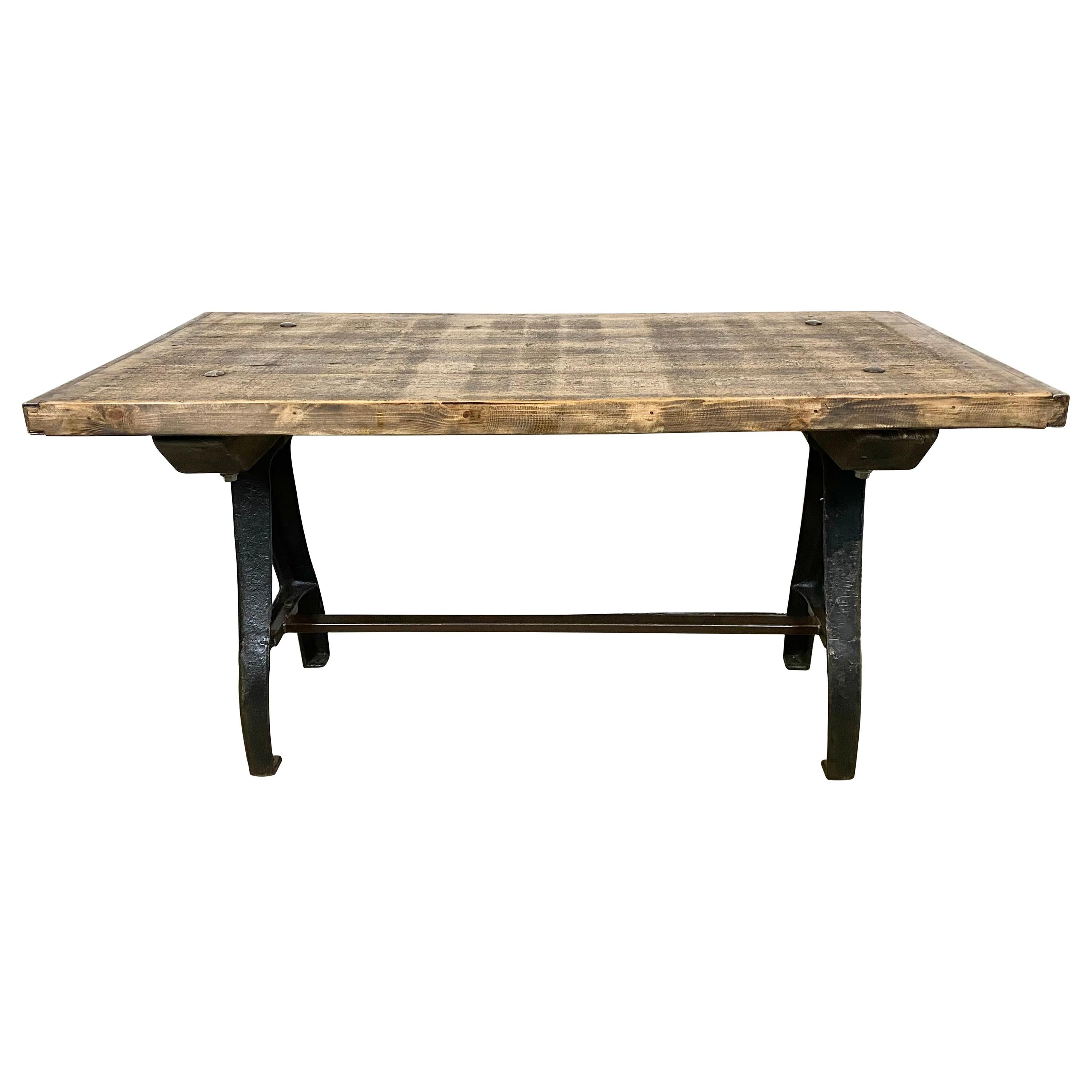 Vintage Industrial Dining Table with Cast Iron Legs
