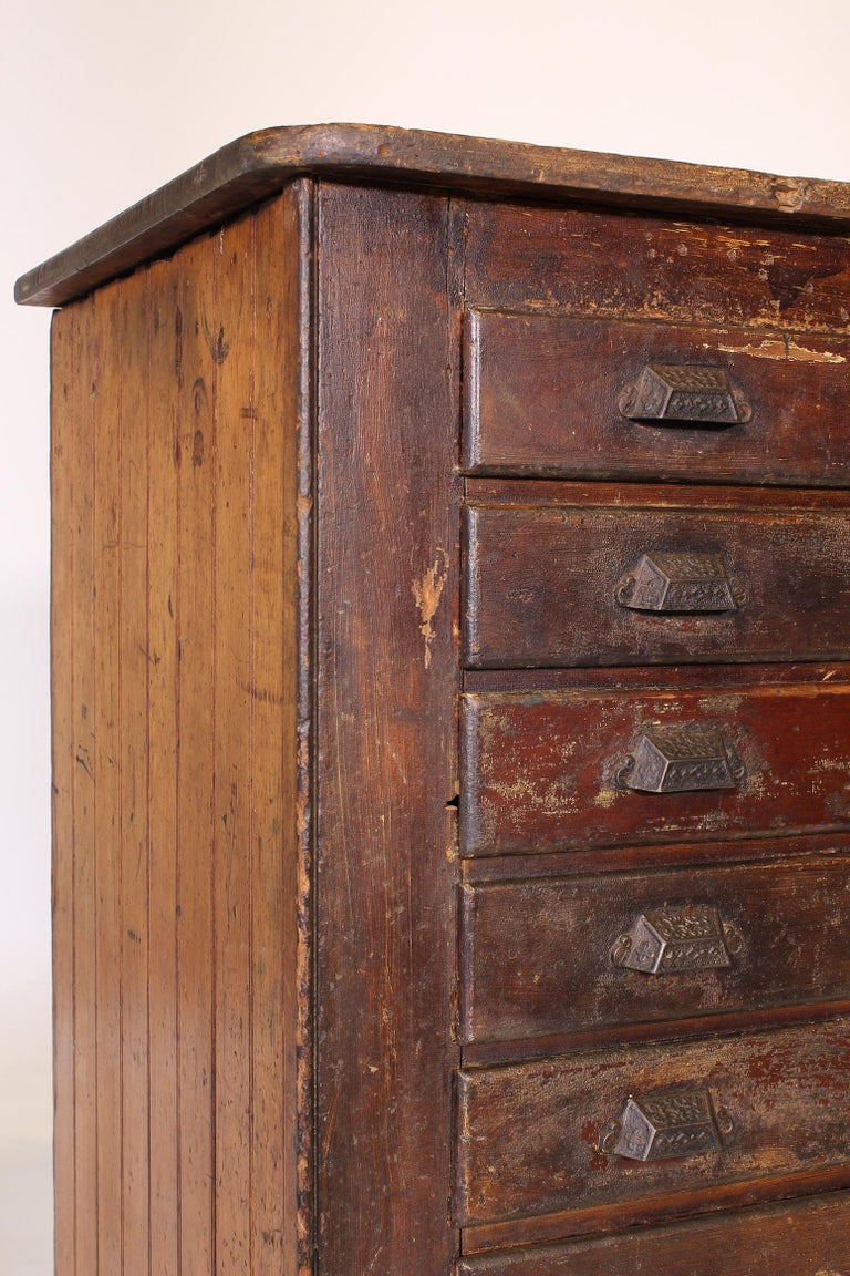 Vintage Industrial Distressed Wooden Flat File Factory