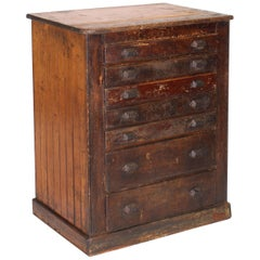 Vintage Industrial Distressed Wooden Flat File Factory Storage Cabinet