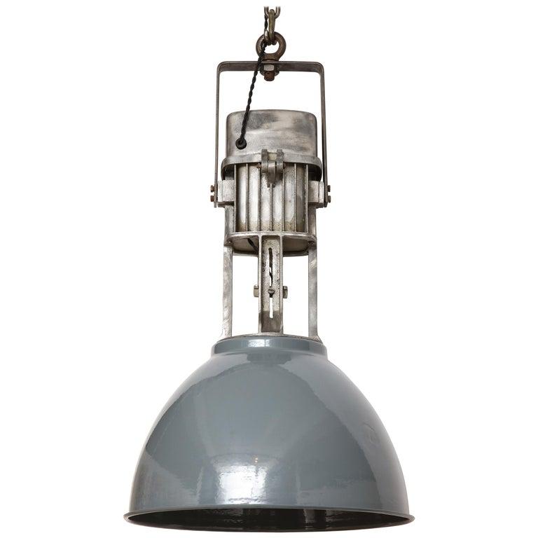 Vintage Industrial Enamel Shade Hanging Light For Sale