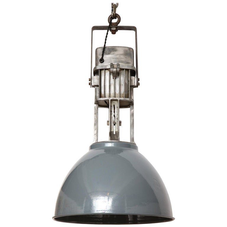 Vintage Industrial Enamel Shade Hanging Light For Sale