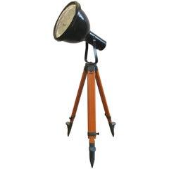 Vintage Industrial Enameled Tripod Reflector Lamp, 1950s