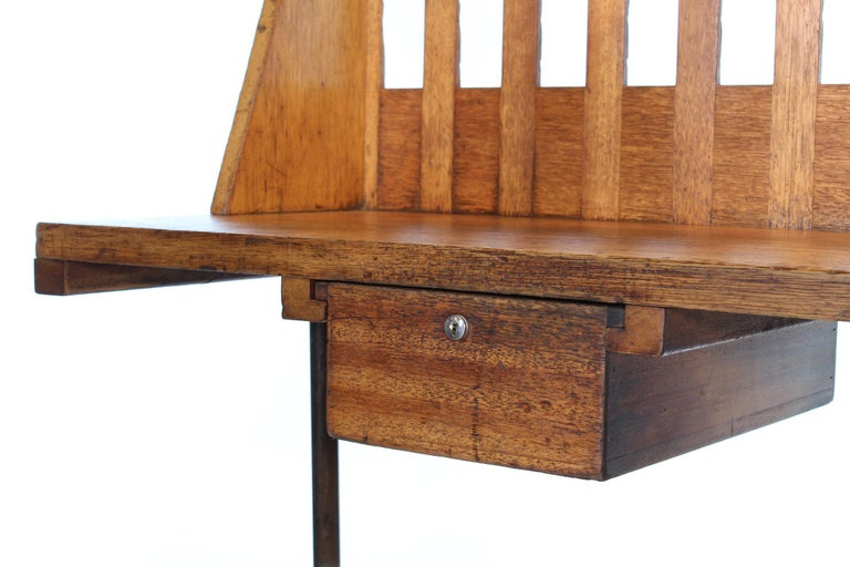 Vintage Industrial Entryway Hall Table or Desk with Clamp-On Lamp For Sale 6