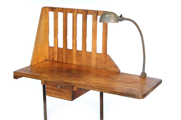 Steel Vintage Industrial Entryway Hall Table or Desk with Clamp-On Lamp For Sale