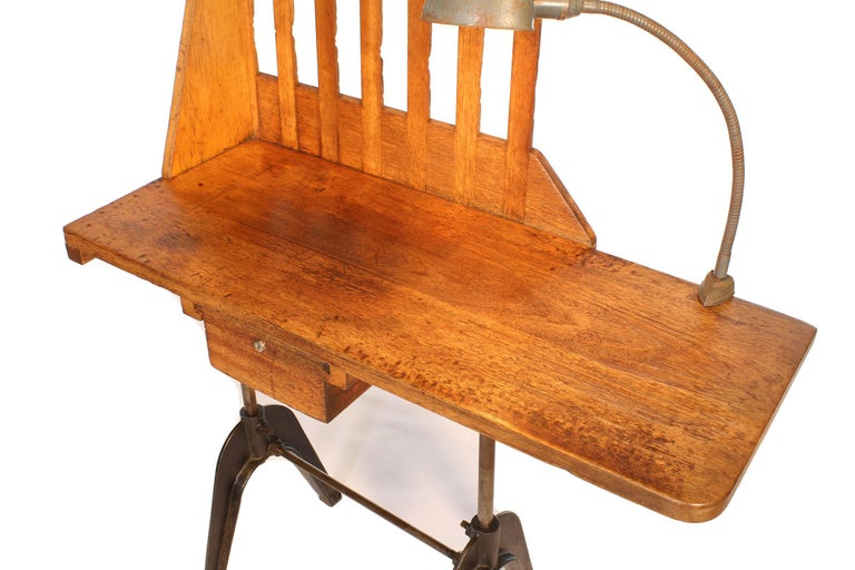 Vintage Industrial Entryway Hall Table or Desk with Clamp-On Lamp For Sale 2