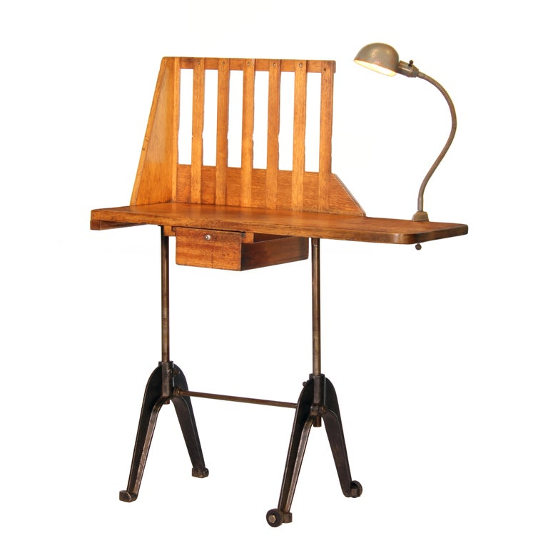 Vintage Industrial Entryway Hall Table or Desk with Clamp-On Lamp For Sale