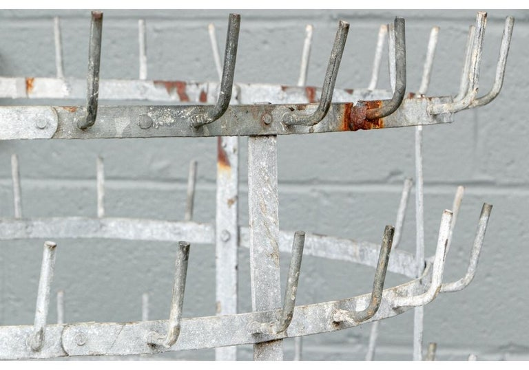 Metal Vintage Industrial Era Bottle Drying Rack For Sale