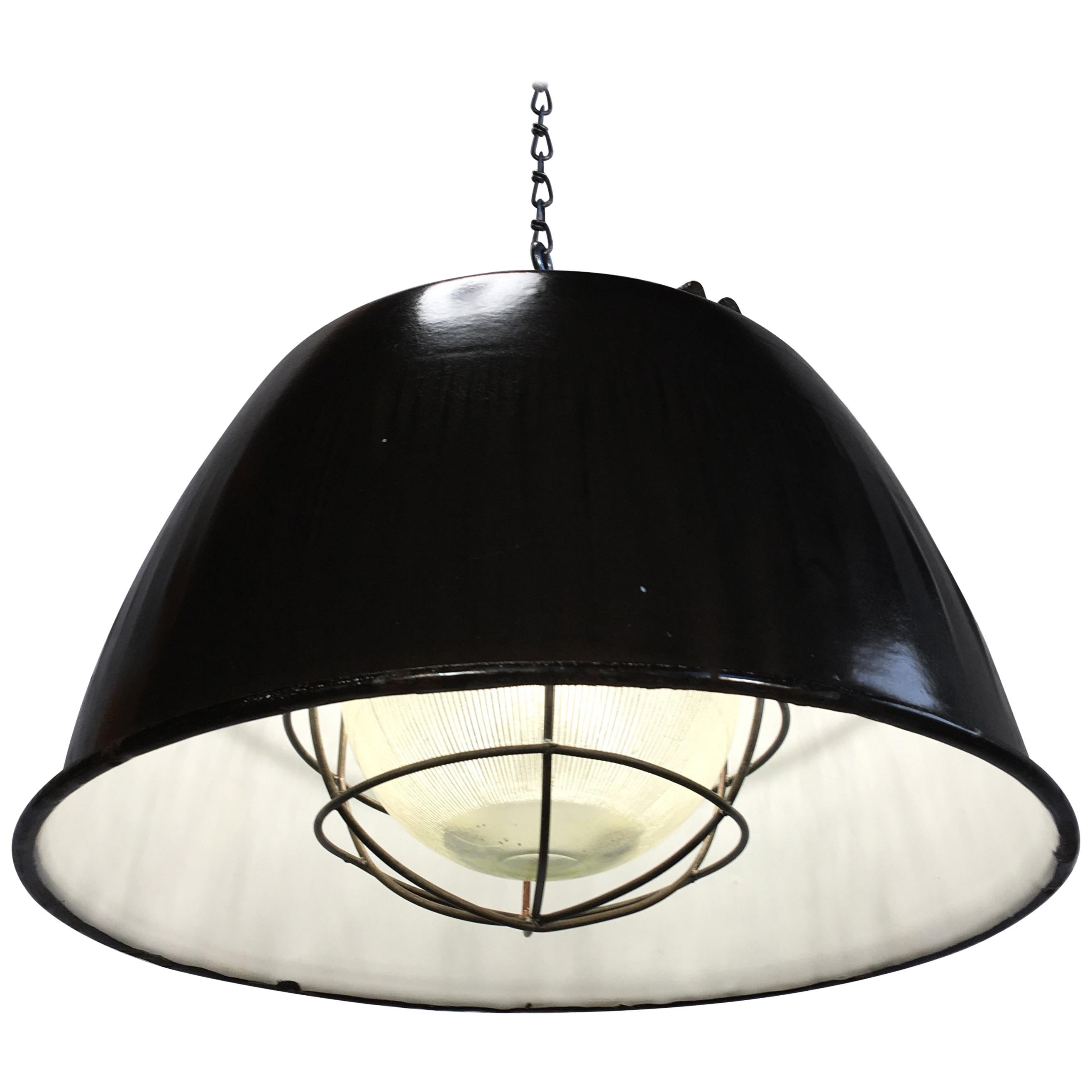 Vintage Industrial Factory Pendant Light, Black Enamel Shade Cast Iron Top